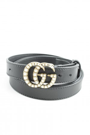 "Gucci Ledergürtel ""Leather Belt with Pearl Double G Buckle Black"""