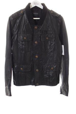 Gucci Leather Jacket black biker look