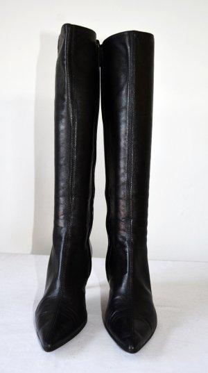 Gucci Lederstiefel Stiefel Leder Nappaleder Boots Spitz 36,5 C