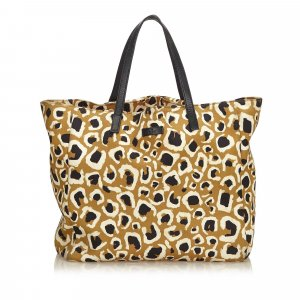 Gucci Leopard Printed Nylon Tote Bag