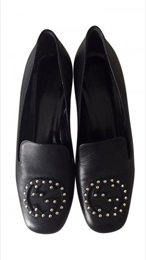 Gucci Heel Pantolettes black-silver-colored leather