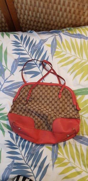 Gucci Sac à main chameau-rouge framboise
