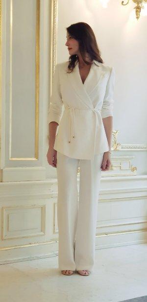 Gucci luxus Designer Wickelblazer Blazertop Blazer Wrapblazer Hochzeit Braut sommer white