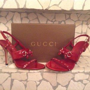 GUCCI Luxus Pantoletten aus roten Lackleder Größe 37,5