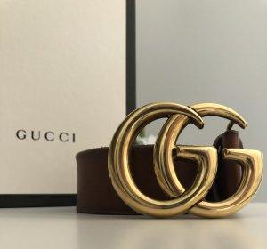 Gucci Lederen riem goud-bruin Leer