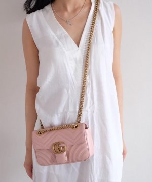 Gucci Marmont Mini Flap Bag Perfect Pink Rosa