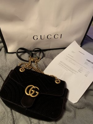 Gucci marmont samt in schwarz Medium