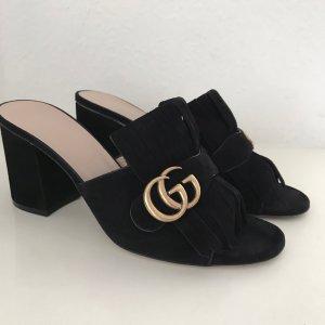 Gucci Marmont Sandalen Schwarz 39-40 Wildleder Pantoletten Sandals Mules Black