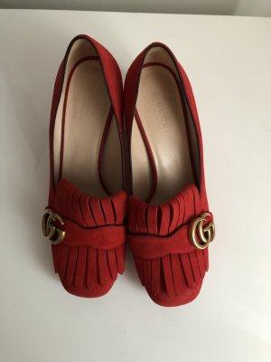 Gucci Marmont Schuhe rotes Velourleder Größe 37,5