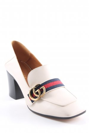 "Gucci Mary Jane Pumps ""Betis Glamour Mid-Heel Leather Loafers Bianco/ Verde/ Rosso"""