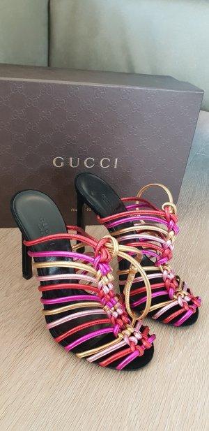 Gucci Mettalic Riemchen Heels Sandalen Sandaletten