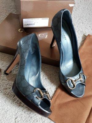 Gucci Monogramm High Heels Peep Toes blau metallic Gr 9B (passt 39,5)