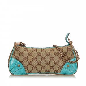 Gucci Nailhead GG Canvas Chain Baguette