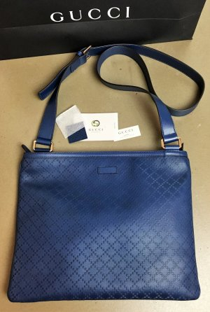 * GUCCI * NEU ! Blue Diamante Leather Messenger Bag LEDER BLAU