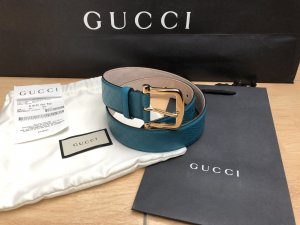 Gucci Leather Belt cornflower blue-turquoise