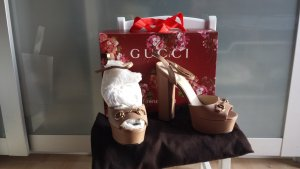 Gucci Platform High-Heeled Sandal nude