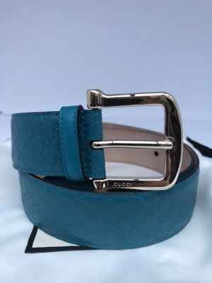 Gucci Belt cadet blue leather