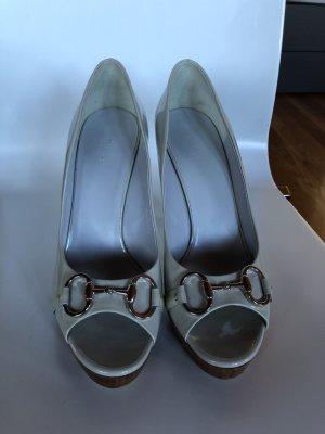 Gucci Peep Toe Booties light grey