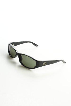 Gucci ovale Sonnenbrille schwarz schlichter Stil