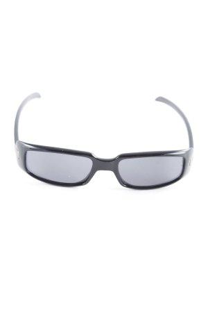 Gucci ovale Sonnenbrille schwarz-silberfarben Elegant
