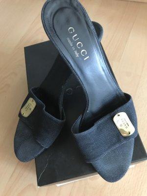 Gucci Heel Pantolettes dark blue