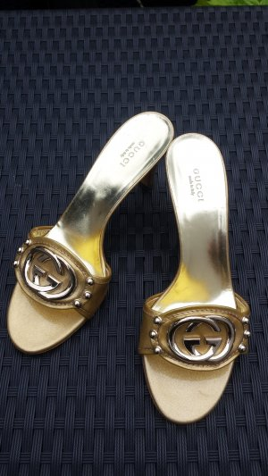 Gucci Heel Pantolettes gold-colored leather