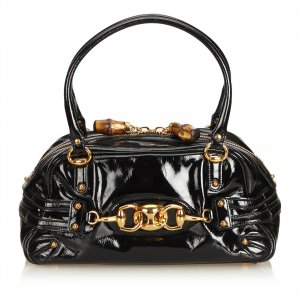 Gucci Patent Leather Horsebit Wave Shoulder Bag