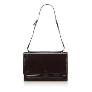 Gucci Shoulder Bag dark brown imitation leather