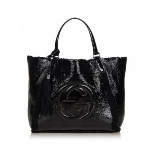Gucci Patent Leather Soho Cellarius Mouton Tote