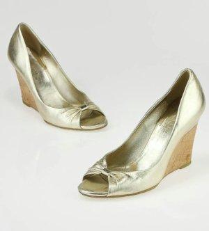 GUCCI Peep-Toe kork Wedges aus goldenem Leder