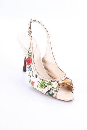 Gucci Peeptoe Pumps beige florales Muster Romantik-Look