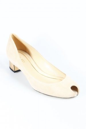 Gucci Peeptoe Pumps creme-goldfarben Business-Look