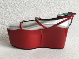 Gucci Mocasines color plata-rojo Cuero
