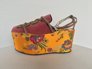 Gucci Mocassins rose-orange clair tissu mixte