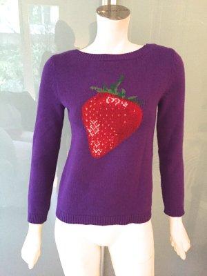 GUCCI Pullover Lila Wolle 34 Strawberry Sweater Purple Embroidered Wool XS w Neu