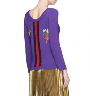 GUCCI Pullover Lila Wolle 34 Strawberry Sweater Purple Embroidered Wool XS w Neu