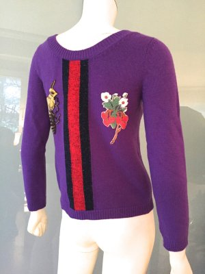 Gucci Pullover Lila Wolle 34 XS Neu Strawberry Sweater Purple Embroidered Wool