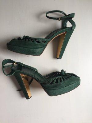 Gucci Peep Toe Pumps dark green