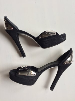 Gucci Peep Toe Pumps black-silver-colored
