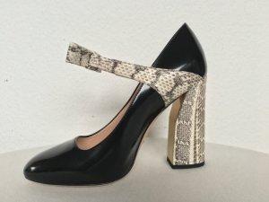 Gucci, Pumps, Leder/Schlange, schwarz/stein, 41, neu, € 900,-