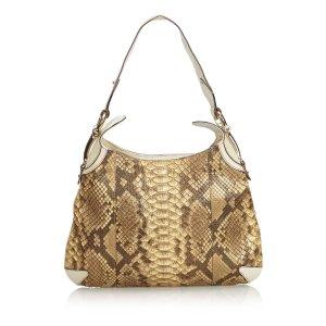 Gucci Sac porté épaule brun foncé reptiles