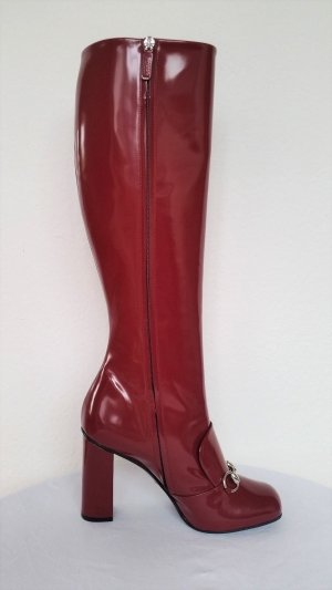 Gucci Heel Boots raspberry-red leather