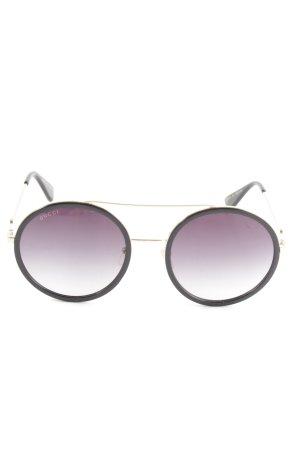 Gucci runde Sonnenbrille schwarz-goldfarben Elegant