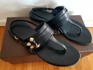 Gucci Flip-Flop Sandals black-gold-colored leather