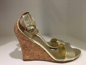 Gucci Platform Sandals gold-colored leather