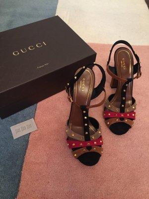 Gucci Sandalo nero-rosso scuro Pelle