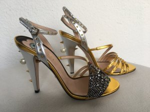 Gucci Strapped Sandals silver-colored-gold-colored leather
