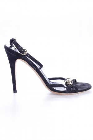 Gucci Strapped High-Heeled Sandals black-gold-colored leather