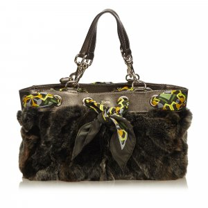 Gucci Tote dark brown fur