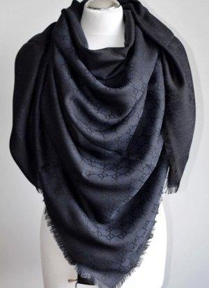 Gucci Foulard en soie bleu foncé laine